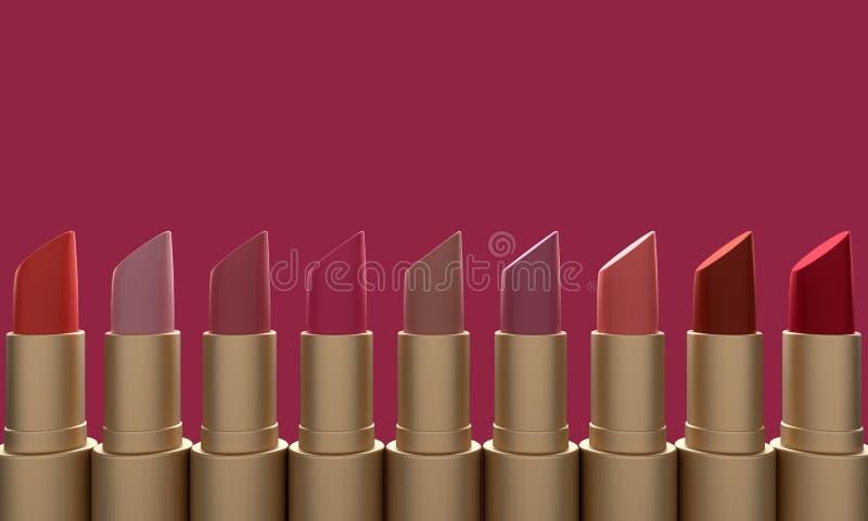 Forme la barra de labios colorida en fondo rojo representaci?n 3d stock de ilustración