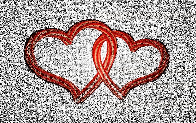 Forme la composici?n, bloque, estructura geom?trica dos corazones rojos entrelazados de Pixelated en la forma blanca del fondo he stock de ilustración