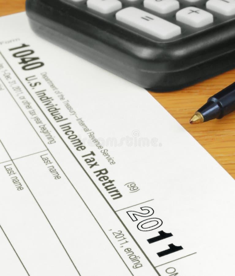 Forme la declaración de impuestos individual de los 1040 E.E.U.U. para 2011 fotografía de archivo libre de regalías