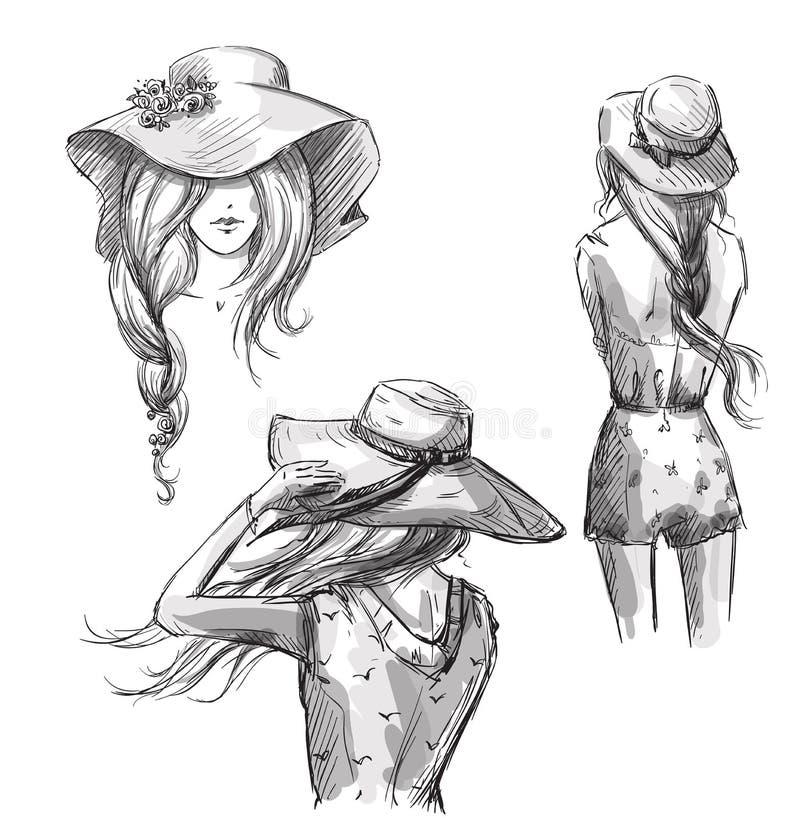 Forme la ilustración Mano drenada Muchachas en sombreros libre illustration