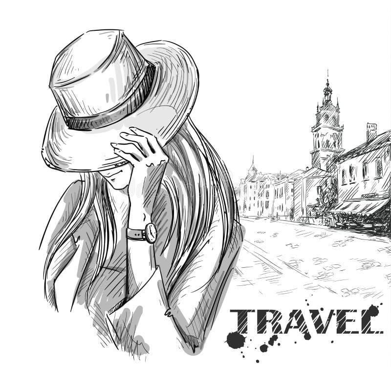 Forme la ilustración muchacha en un viejo fondo de la ciudad Mano drenada stock de ilustración