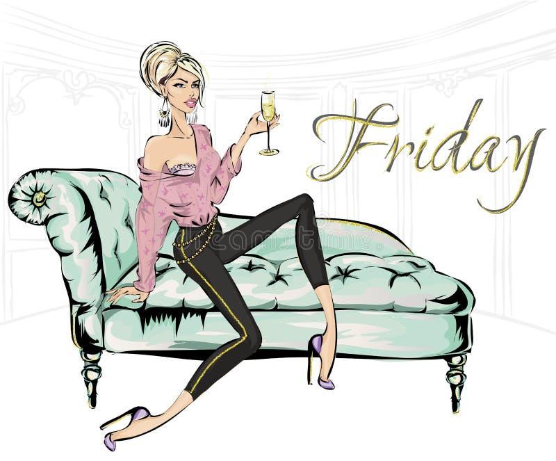 Forme a la muchacha con el vidrio de champán que se sienta en el sofá en sala de estar El partido del hogar de viernes, mujer de  stock de ilustración