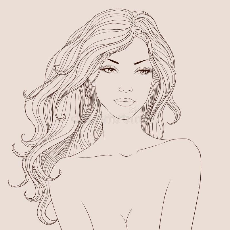 Forme a la mujer hermosa con vector largo del pelo ondulado stock de ilustración