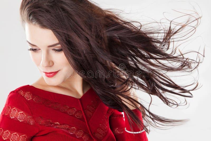 Forme a la mujer morena con el pelo largo que agita en el viento imagen de archivo