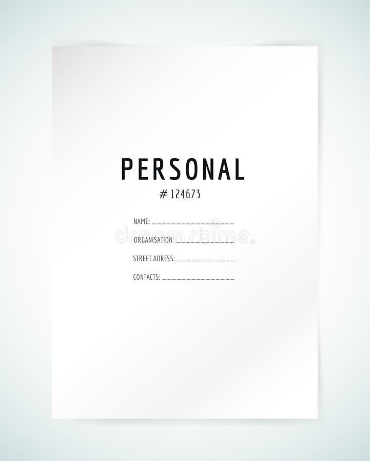 Forme la plantilla en blanco Carpeta del negocio, papel y ilustración del vector