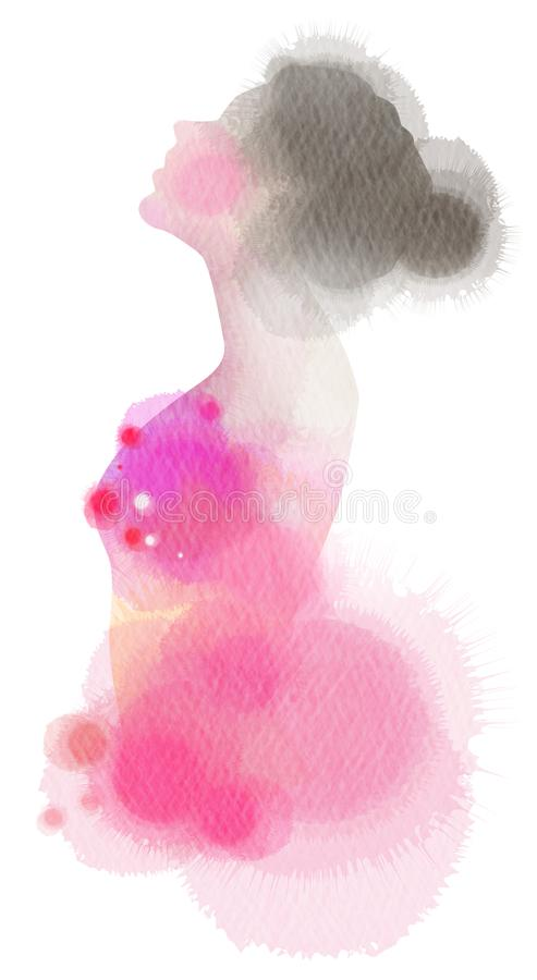 Forme la silueta de la muchacha del icono más color de agua abstracto Digitaces ilustración del vector