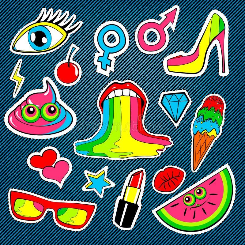 Forme las insignias con los labios, beso, corazón, estrella, helado, lápiz labial, ojo, mierda, arco iris del remiendo Fondo del  ilustración del vector