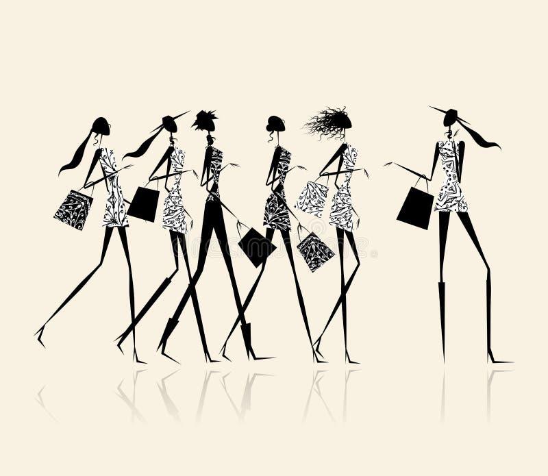 Forme a las muchachas con los bolsos de compras, ilustración ilustración del vector