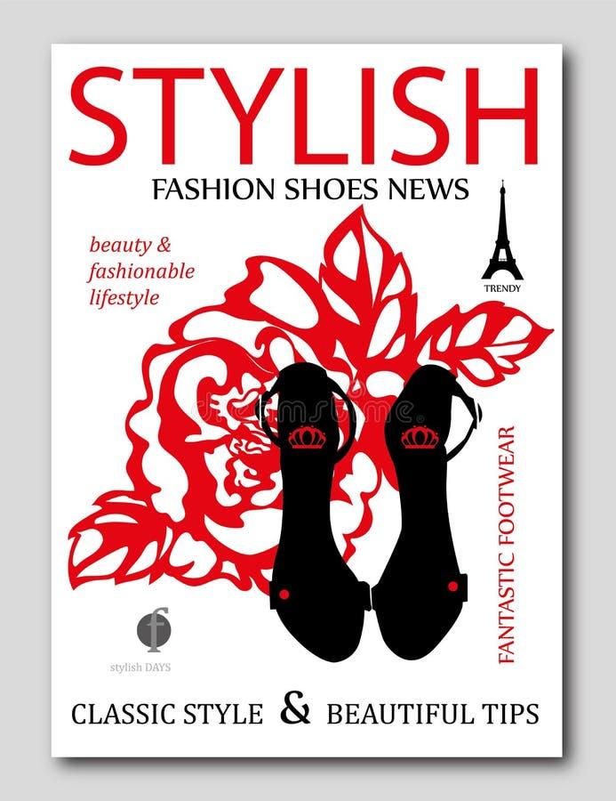 Forme los zapatos de moda del tacón alto del negro de la silueta con subió en fondo Diseño de la cubierta de revista de moda libre illustration