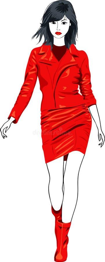 Forme a menina asiática em um terno de couro vermelho ilustração stock