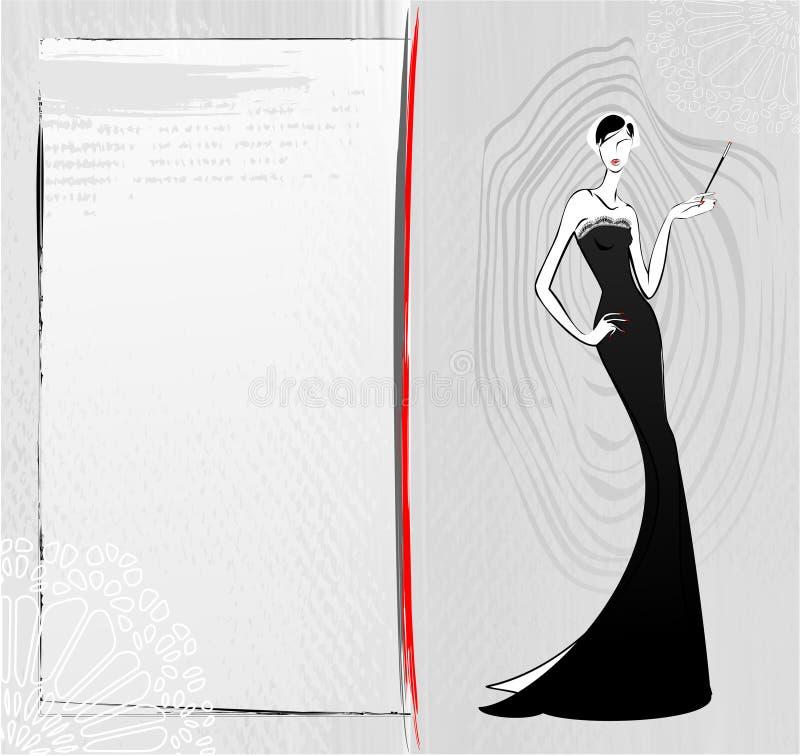 Forme a menina do vintage no cartão preto do esboço do vestido ilustração stock