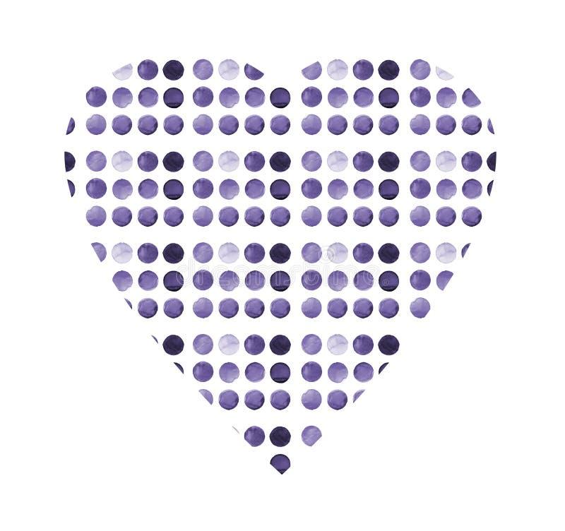 Forme modelée de coeur Ensemble de cercle peint à la main d'aquarelle colorée d'isolement sur le blanc Illustration pour la conce illustration stock