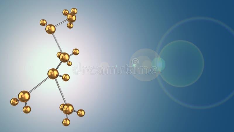 forme moléculaire en métal 3d illustration stock