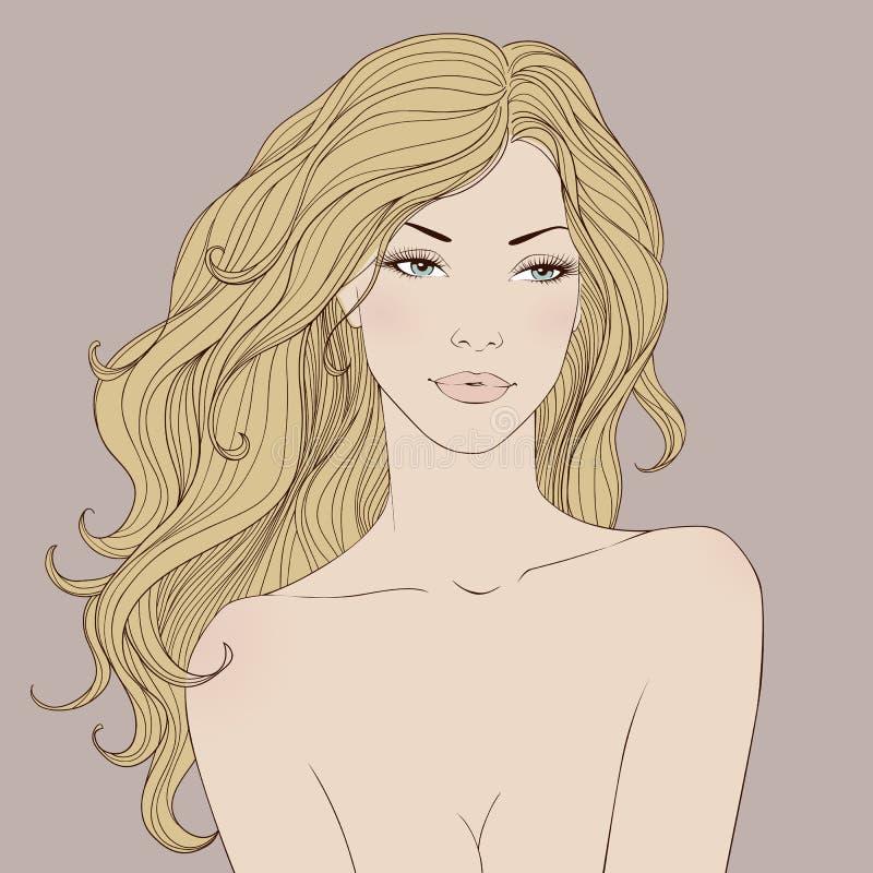Forme a mulher bonita com vetor longo do cabelo ondulado ilustração royalty free