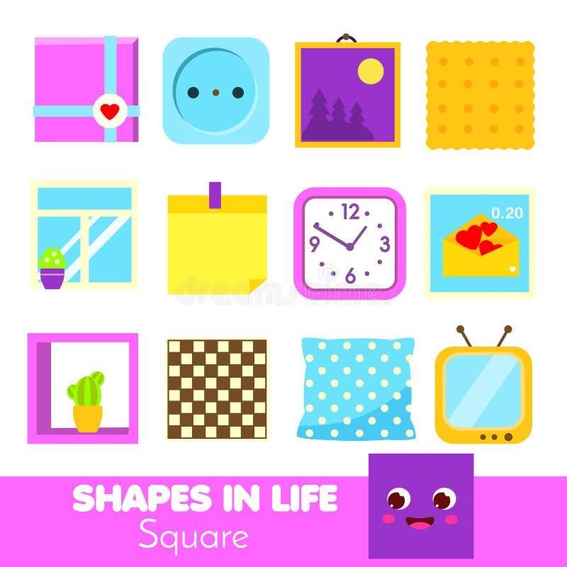 Forme nella vita quadrato Apprendimento delle carte per i bambini Infographic educativo per i bambini ed i bambini Forme geometri illustrazione vettoriale