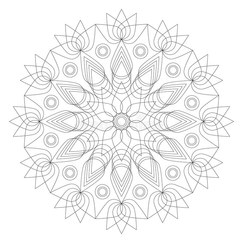 Forme noire et blanche de fleur de lotus de mandala page adulte de livre de coloriage - Mandala fleur de lotus ...
