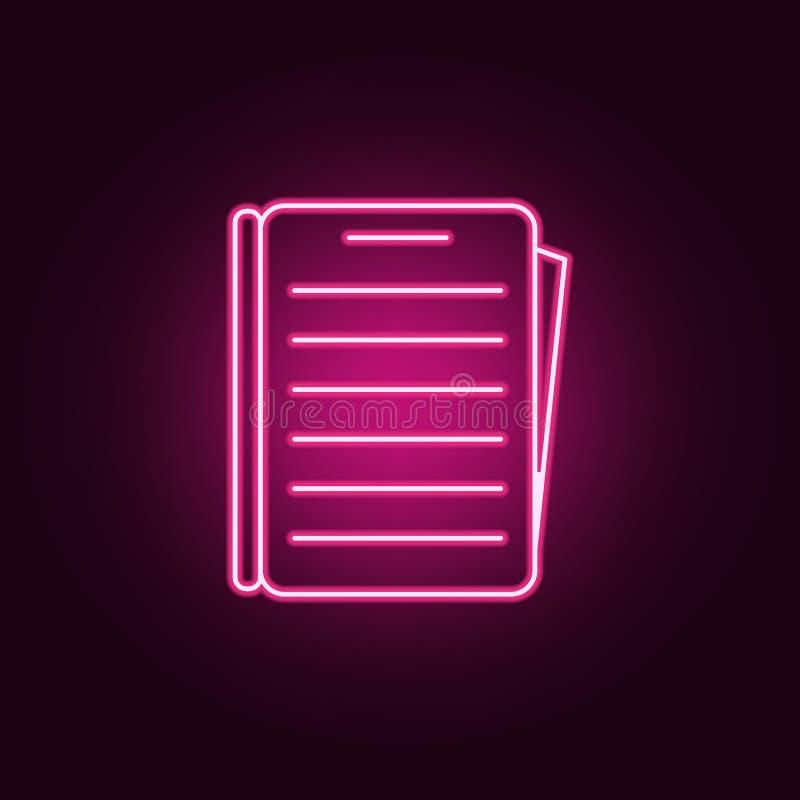 Forme o ícone Elementos dos livros e dos compartimentos nos ícones de néon do estilo Ícone simples para Web site, design web, app ilustração do vetor