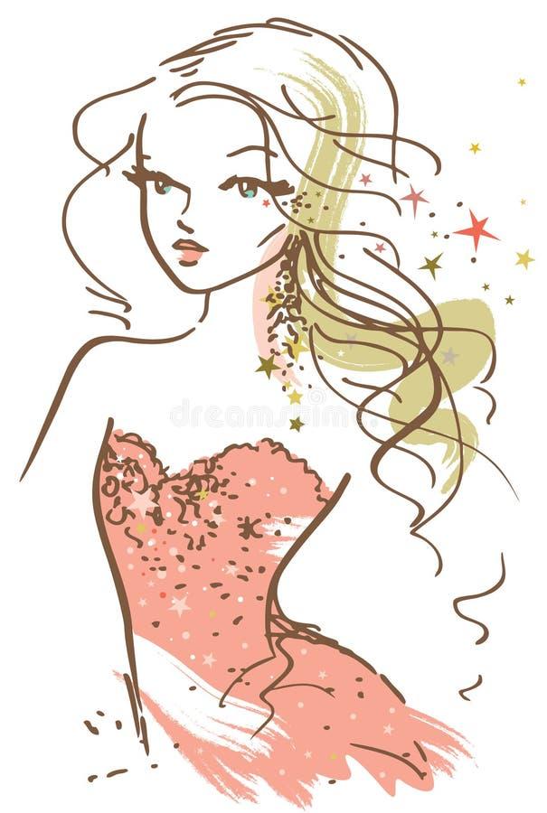 Esboço bonito da menina ilustração stock