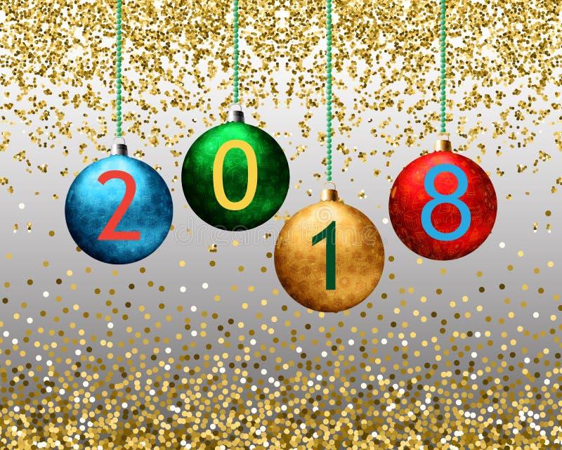 Forme o fundo com os flocos de neve de brilho do ouro, bokeh do Natal, sparkles ilustração stock