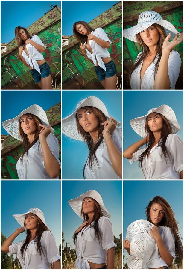 Forme o levantamento caucasiano do modelo exterior na frente de um barco velho Morena 'sexy' com o short branco da camisa e da sa imagens de stock