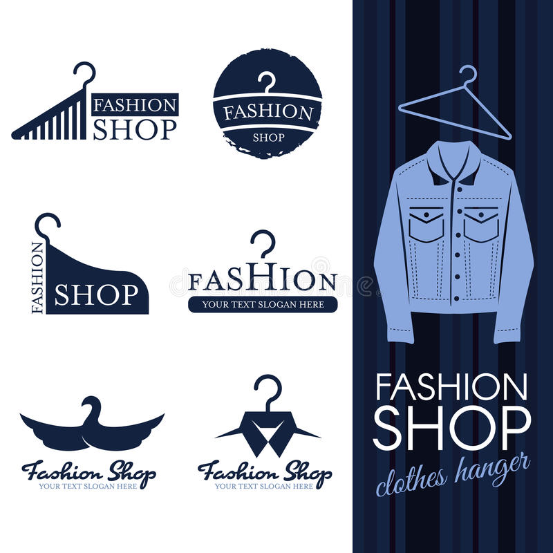 Forme o logotipo da loja - cenografia azul do vetor do logotipo do gancho de roupa de brim ilustração royalty free