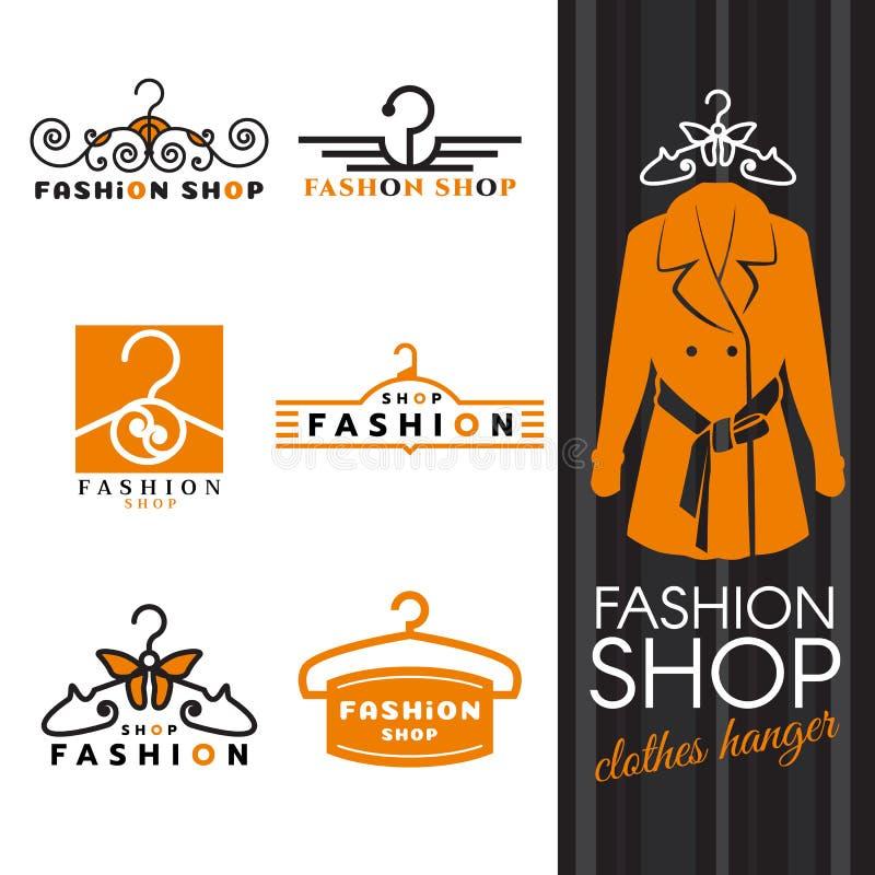 Forme o logotipo da loja - cenografia do vetor do logotipo camisas e do gancho de roupa alaranjados ilustração royalty free