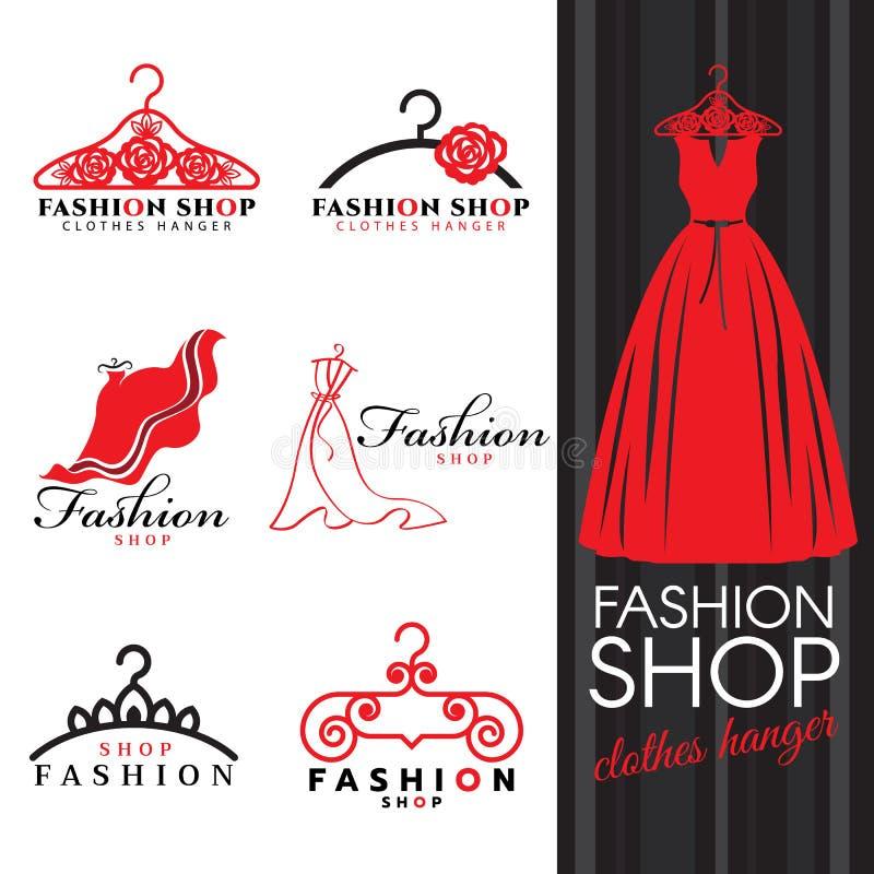 Forme o logotipo da loja - cenografia do vetor do logotipo vestido e do gancho de roupa vermelhos ilustração stock