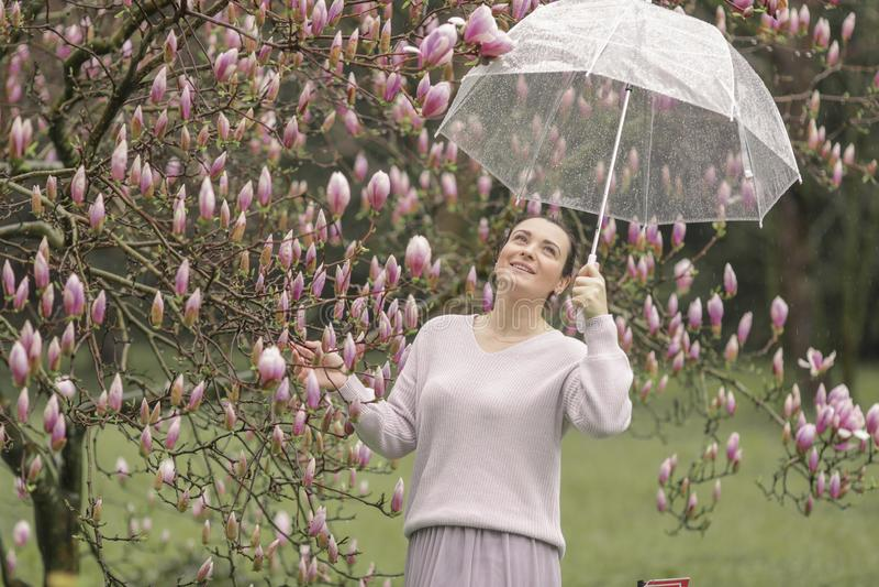 Forme o retrato de uma mulher nova bonita na floresta do outono foto de stock royalty free