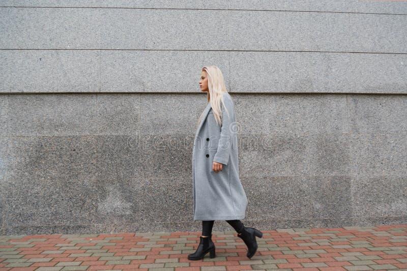 Forme o retrato do estilo da mulher elegante bonita nova no casaco de pele cinzento que anda na rua da cidade fotografia de stock