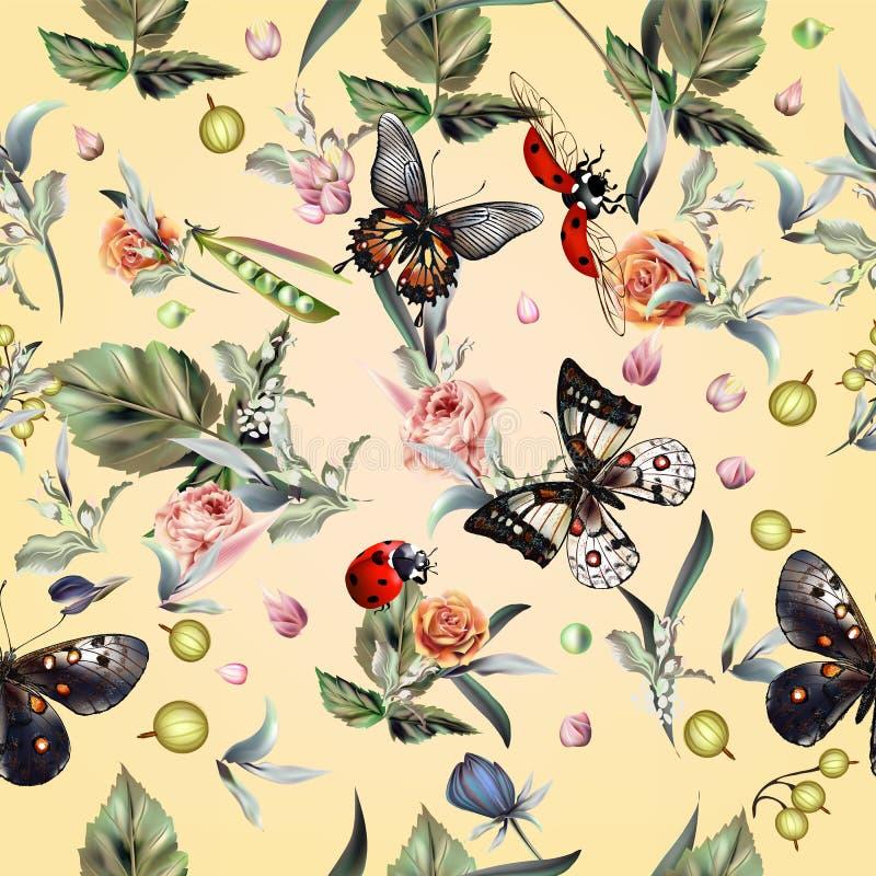 Forme o teste padrão do verão do vetor com as borboletas tiradas mão e o fl ilustração do vetor