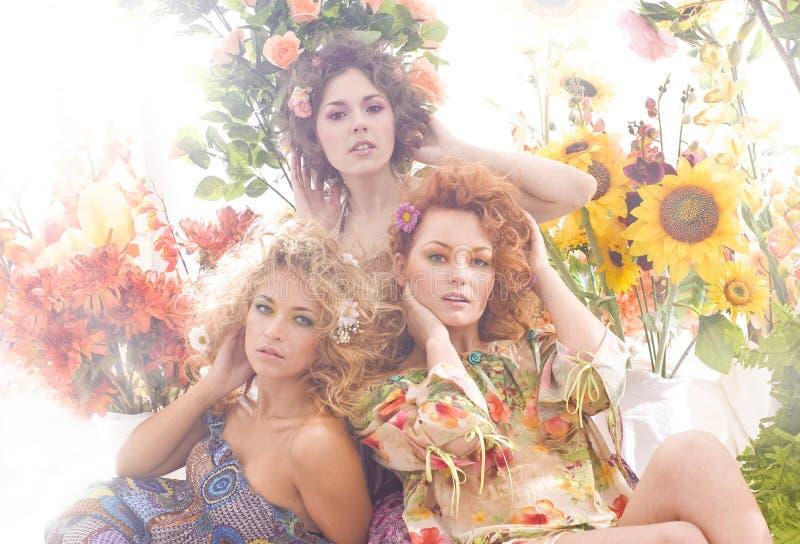 Forme o tiro de mulheres encantadoras na roupa do verão imagens de stock
