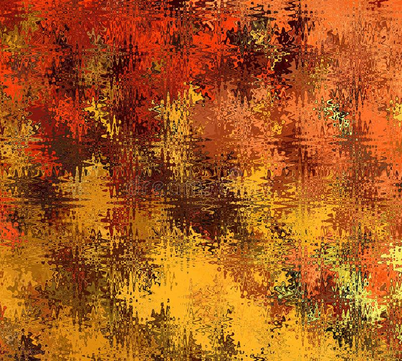 Forme ondulate astratte caotiche multicolori dell'estratto della pittura di Digital in tonalità differenti di Autumn Tree Leaves  illustrazione vettoriale