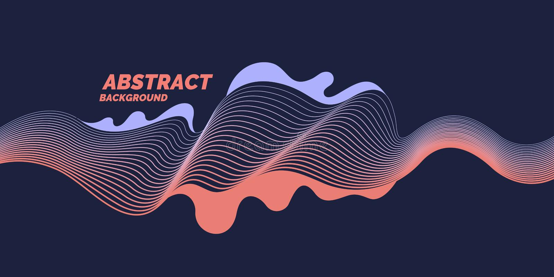 Forme organiche con le onde dinamiche e linee su un fondo scuro Vettore illustrazione di stock