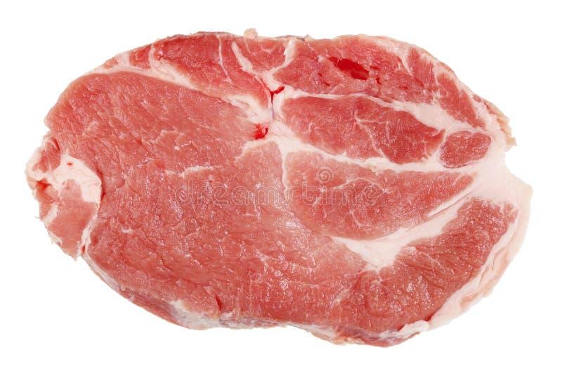 Forme parfaite et qualité de bifteck cru frais de porc images stock