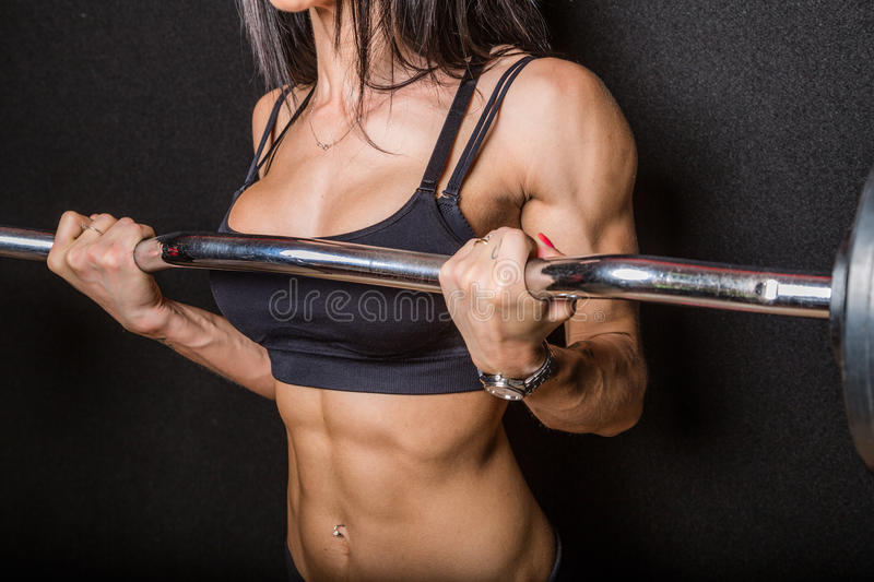 Forme physique avec le barbell image stock