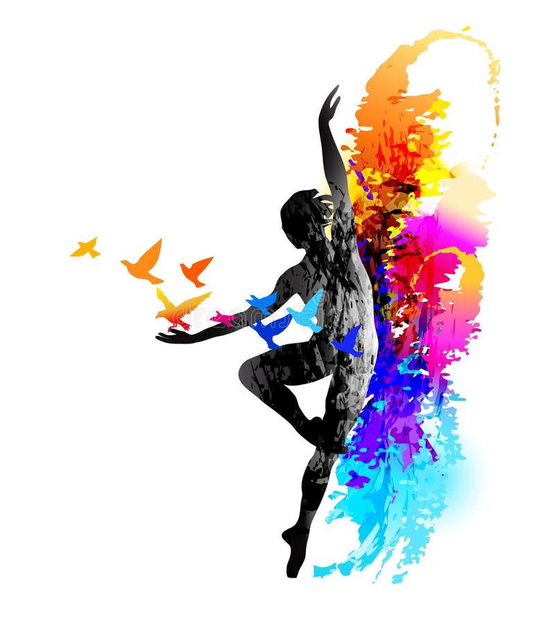 Forme physique de danseur classique, aérobic Gymnastique rhythmique - graphisme vectoriel coloré Illustration de vecteur illustration libre de droits