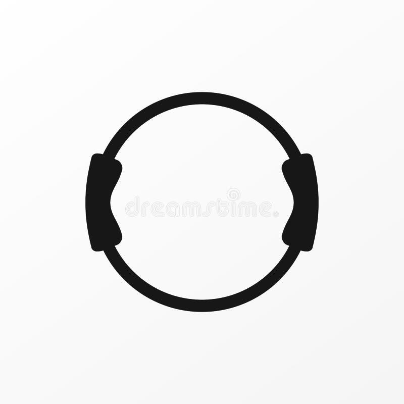 Forme physique de poignée d'équipement de Pilates la double modifiant la tonalité le signe d'icône d'anneau a isolé photos stock