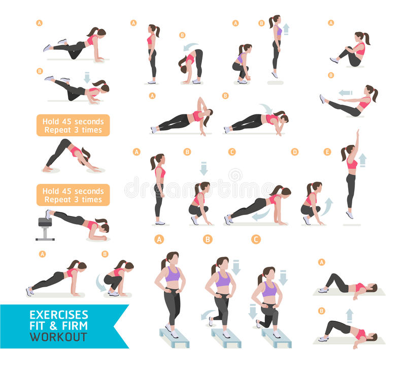 Forme physique de séance d'entraînement de femme, aérobie et exercices illustration stock