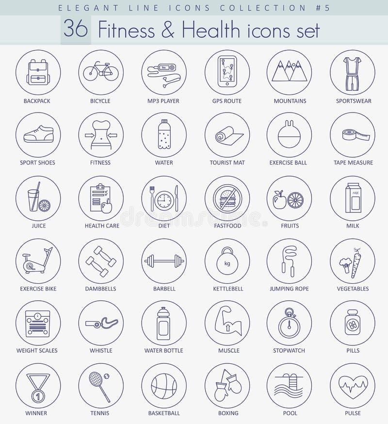 Forme physique de vecteur et ensemble d'icône d'ensemble de santé Ligne mince élégante conception de style illustration libre de droits