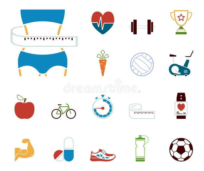 Forme physique et aliments de préparation rapide - Iconset - icônes illustration libre de droits