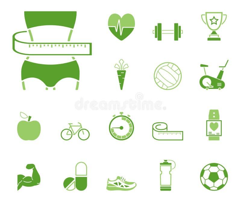 Forme physique et aliments de préparation rapide - Iconset - icônes illustration de vecteur