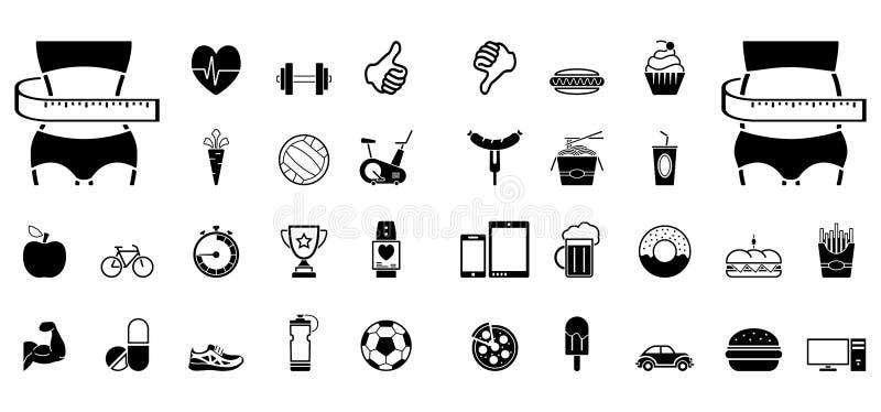 Forme physique et aliments de préparation rapide - Iconset - icônes illustration stock