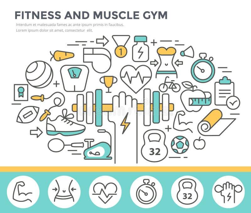 Forme physique et illustration de concept de gymnase de muscle illustration libre de droits
