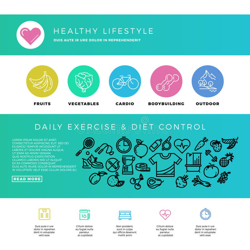 Forme physique, gymnase, cardio-, sain mode de vie, nourriture biologique, calibre de web design avec la ligne mince icônes illustration de vecteur