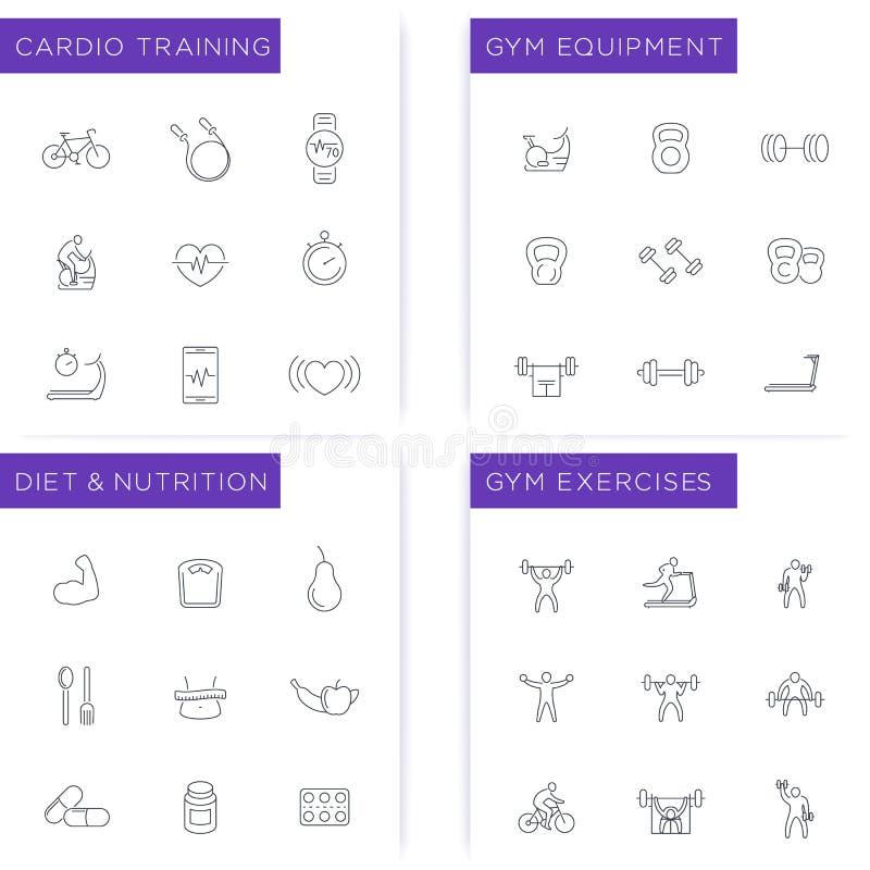 Forme physique, séance d'entraînement, gymnase, régime, icônes s'exerçantes réglées illustration de vecteur