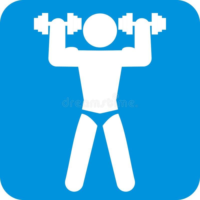 Forme physique, silhouette de masculin avec des haltères, icône de vecteur illustration stock