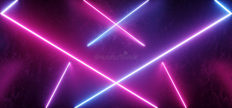 Forme pourpre rose bleue rougeoyante au néon moderne futuriste étrangère de gradient abstrait de forme de Sci fi la rétro en méta illustration stock