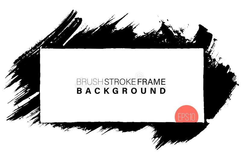 Forme rectangulaire de cadre grunge tiré par la main Courses noires de peinture en tant que ressources graphiques Contexte peint illustration stock