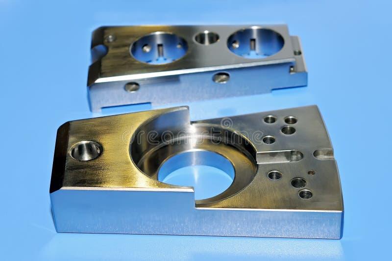 Forme rectangulaire de détail en acier industriel avec les trous ronds photo stock