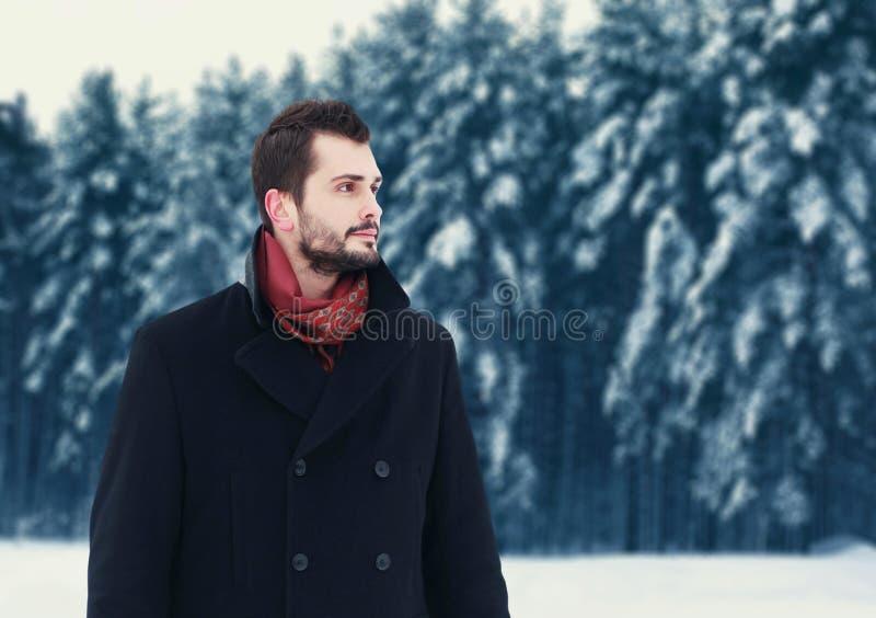 Forme a retrato el hombre barbudo elegante hermoso que lleva la capa negra en día de invierno sobre fondo nevoso del bosque de lo foto de archivo